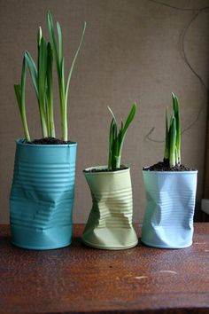 Recycling becomes hipster upcycling when you used a lightly crushed tin can to plant some spring bulbs in. Make sure to paint the cans a fun, fresh, spring color. ( With recycled paint of course!)