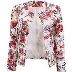 Yoins Blazer ($22) ❤ liked on Polyvore featuring outerwear, jackets, blazers, blazer, yoins, over, black, blazer jacket, floral print blazer and floral blazer