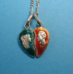 Vintage Sterling Enameled Valentine's Heart Charm Necklace