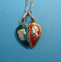 Vintage Sterling Enameled Valentine's Heart Charm by Just4Girls on Ruby Lane.