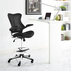 LexMod - Charge Drafting Stool in Black