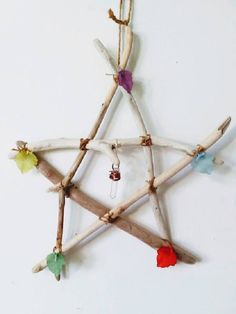 "Driftwood 7"" Pentagram, Lucite Leaves & Crystal Point, Alter Ritual Decoration, HedgeWitch, New Age, Pagan, Wicca, Wall Hanging, Homewear by FeltIsle on Etsy"