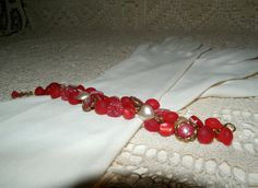 Vintage button bracelet red and white by EmbracingThePresent, $55.00