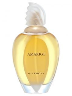 Amarige by Givenchy: top notes of fresh fruit: peach, plum, orange, mandarin, with the sweetness of rose wood and neroli. The floral bouquet, very intense and luscious, is created of mimosa, neroli, tuberose, gardenia and acacia with a gourmand hint of black currant. The warm woody base is composed of musk, sandalwood, vanilla, amber, Tonka bean and cedar.
