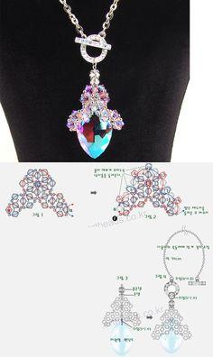 Pendant crystals and dropBeaded beads tutorials and patterns, beaded jewelry patterns, wzory bizuterii koralikowej, bizuteria z koralikow - wzory i tutoriale Seed Bead Jewelry, Bead Jewellery, Jewelry Making Tutorials, Beading Tutorials, Beaded Jewelry Patterns, Beading Patterns, Jewelry Crafts, Handmade Jewelry, Bead Loom Bracelets