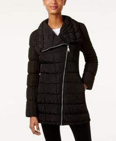 Calvin Klein Water-resistant Asymmetrical Puffer Coat In Black Uncommon Threads, Calvin Klein, Wing Collar, Coats For Women, Winter Jackets, My Style, Long Sleeve, Sleeves, Shopping