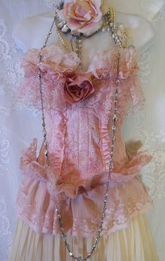 Ruffled pink  bustier lace crochet rose  corset by vintageopulence,