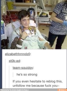 Don't unfollow me or anything but FYI this is Austin Carlile from Of Mice and Men who had heart problems