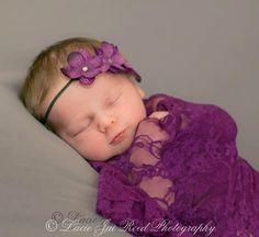 Purple Floral Lace Stretch Wrap - Newborn Wrap and Flower Headband - Floral Lace Wrap Set- Photo Prop - Newborn Stretch Lace. $19.99, via Etsy.