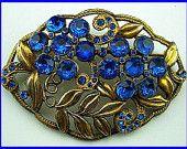 "Vintage ANTIQUE Brooch Pin Art Deco Style Blue Rhinestones Gold Metal 2 3/4"" CIJ Sale"