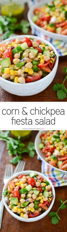 Corn and Chickpea Fiesta Salad with Cilantro-Lime Vinaigrette | simplywhisked.com