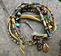 Items similar to Multi-strand Bohemian, hippie, boho, tribal bracelet. Earth tone. Fiber wire, czech seed bead glass & gemstone bracelet