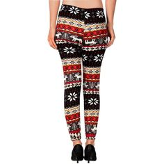 Hot Christmas New knit wool like thermal leggings colorful Seasonal... ($6.99) ❤ liked on Polyvore featuring pants, leggings, white leggings, christmas pattern leggings, patterned leggings, multi color pants and white trousers