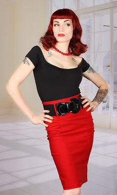 Broad Minded High Waisted Belted Pin Up Girl Pencil Skirt with Shirred Sides in Red