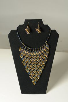 Full Bib Safety Pin Necklace with Earrings by WLSafetypinJewelry, $40.00