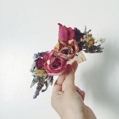 Dried Floral Sage Bridal Hair Comb by Aquarian Soul