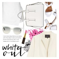 """""""White Out"""" by ivansyd ❤ liked on Polyvore featuring Dion Lee, Bobbi Brown Cosmetics, Ray-Ban, Lafayette 148 New York, French Connection, Kevyn Aucoin, Carrano and allwhite"""