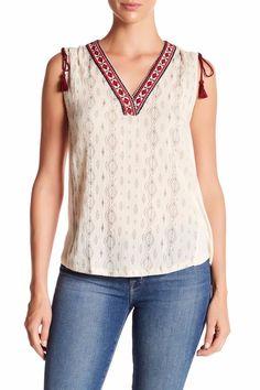 4d8fa4fa06b7e6 Lucky Brand Women s Diamond Print Embroidered Tie Shoulder Boho Top Natural  M