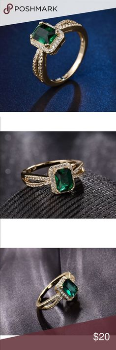 18k green emerald sapphire ring Elegant 18k gold filled ring with emerald green sapphires surrounded in white sapphires . Brand new and comes boxed . Truly Beautiful ! Jewelry Rings