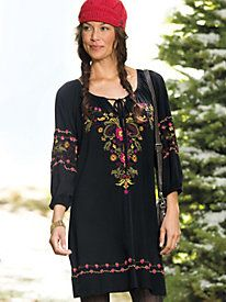 Women's Hand-Embroidered Peasant Dress - Sahalie