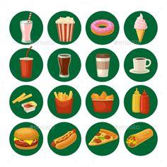 Set Fast Food Icon. Cup Cola, Hamburger, Pizza