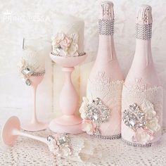 Discover thousands of images about Wedding champange Wedding Flutes, Wedding Unity Candles, Wedding Bottles, Wedding Glasses, Wine Bottle Corks, Wine Bottle Crafts, Bottle Painting, Bottle Art, Wedding Toasts
