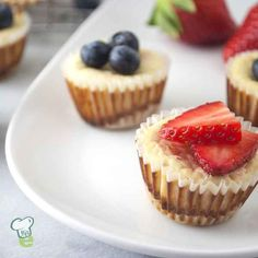 Mini Cheesecakes : Get out the red, white and blue with these mini cheesecakes. Top each one with blueberries and strawberry slices for a delicious patriotic treat.
