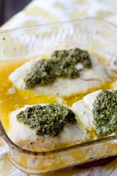 Baked Fish with Lemon-Basil Pesto, Pesto Sweet Potato Mash & Roasted Broccoli-Cauliflower Combo
