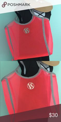 """Victoria's Secret Beach Tote This is an oversized beach tote by Victoria's Secret. It is hot pink mesh with black and white striped handles. It has never seen the beach or pool, only the inside of my closet. It is 17"""" X 17"""" X 8"""". All items come from a pet-free/smoke-free home. Victoria's Secret Bags"""