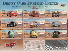 Disney Cars Pretend Checks by AmorPrintables on Etsy Minecraft Blocks, Monopoly Money, Play Money, Chores For Kids, Printable Planner Stickers, Disney Cars, Pretend Play, Credit Cards, Kids Playing
