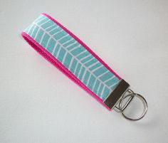 Key FOB / KeyChain / Wristlet   Blue Teal herringbone on by Laa766 chic / cute / preppy / fabric / patterned / accessories / for you, co-worker or school gifts / home, office decor