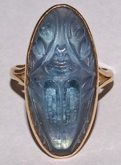 Lalique  Molded glass scarab ring.
