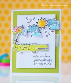 Card by Wanda Guess. Reverse Confetti stamp sets and coordinating Confetti Cuts: Weather it Together and Later Alligator. Friendship card. Encouragement card.