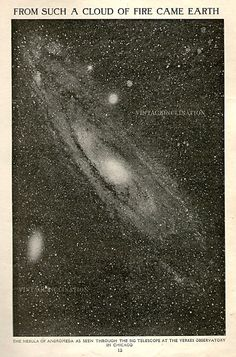 """From Such a Cloud of Fire Came Earth."" Vintage astronomy print, 1930s."