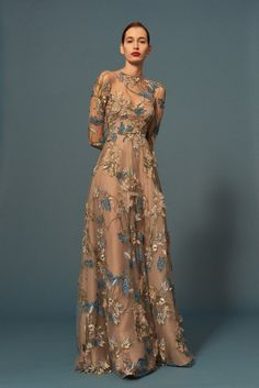 Naeem Khan - Pre-Fall 2016 - Floral embellished long sleeve illusion gown