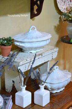 Ironstone Tureens by shirleystankus.  I like the idea of using the stepstool to achieve different levels. m