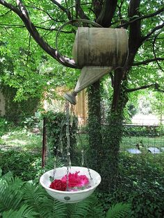 Really cool idea of hanging a planter from a watering can on a tree