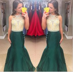 Ulass 2016 Beauty Prom Dresses Floor Length Dark Green Satin Mermaid Evening Gowns Crystals Beaded Taffeta Party Dress Robes de bal