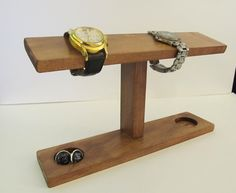 126bbe6c9 Men Watch Holder- Men Watch Stand - Watch Display with ring and cufflink  holder on