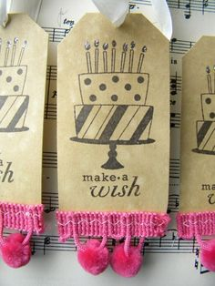 Make a Wish Cake Tagsset of 6 by LittlePumpkinPapers on Etsy, $5.00