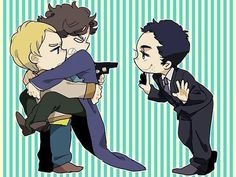 I don't ship Johnlock, but this is way too cute! Sherlock's growling at Moriarty. Sherlock Fandom, Sherlock John, Sherlock Holmes Bbc, Watson Sherlock, Jim Moriarty, Funny Sherlock, Sherlock Quotes, Supernatural Fandom, Johnlock