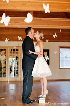 adorable for the short brides also love the butterfly hanging up-beth