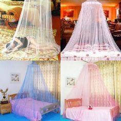 Elegant Round Lace Insect Bed Canopy Netting Curtain Dome Mosquito Net Princess #Unbranded #Modern