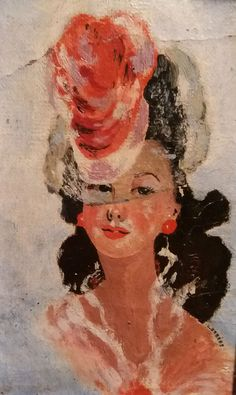 huile sur toile signé L.Orséro vers 1946 ?? a identifier élégante au chapeau