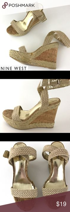 """Steve Madden Cork Wedge Heel Espadrille Sandals Nine West  Cork Wedge Heel Sandals Women's Espadrille Ankle Strap Shoes  Women's Size 8.5 M   Pre Owned Heels, in Good Shape. Has some signs of being worn  Wear on soles  Any & All flaws are shown in photos  No Foot Imprints   Heel height:5""""  Front height:2""""    Item comes from a pet free/smoke free clean environment  please contact me for any additional questions  I offer combined shipping Steve Madden Shoes Wedges"""