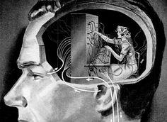 Sometimes I think my own brain secretary has gone AWOL. Paris Saclay, Collage Kunst, Behind Every Great Man, Arte Popular, Dark Art, Cyberpunk, Psychology, Steampunk, Sci Fi