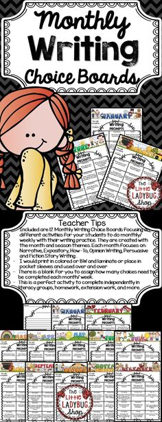 Writing Prompts   Writing Prompts   Writing Prompts   Writing Prompts  ★★Writing Prompts★★ Monthly Choice Boards is a fun way to get your students excited about writing on different prompts monthly, daily, weekly!   ★★Included★★  ★12 Monthly Writing Prompts Choice Boards with different monthly toppers.  ★Each month focuses on different writing prompts for your students.  ★★144 Total Writing Prompts★★