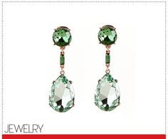 From Vogue's Guide to the Best Accessories for Spring - Oscar de la Renta chartreuse pear-shaped crystal earrings