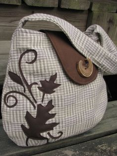 Twirling Leaves Wool shoulder bag by LBArtworks on Etsy, $56.00