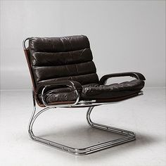 Clement Meadmore 248 Chromed Steel And Leather Sling